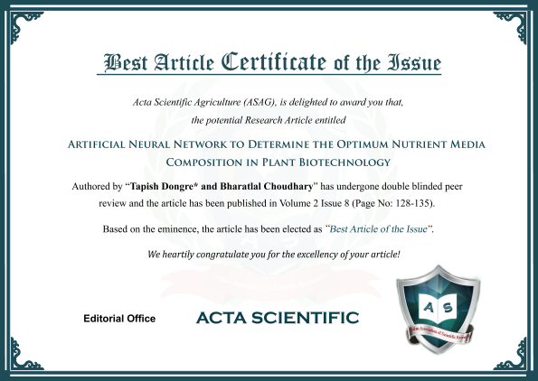Best Article certificate
